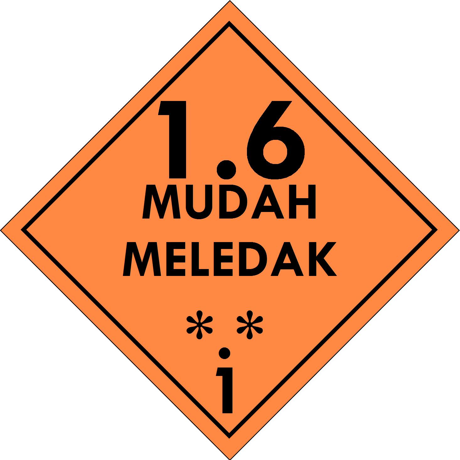 Label (Simbol) Transportasi Bahan (Material) Mudah Meledak 1.6