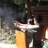 Ben practing with the pistol