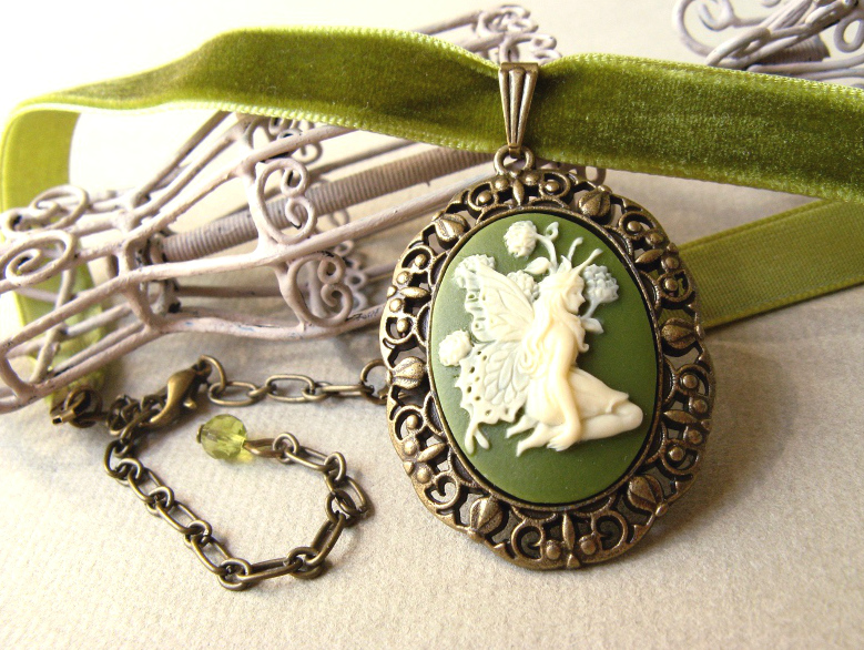 Green velvet ribbon choker necklace with fairy cameo