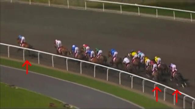 1コーナー中間あたり、日本馬の位置関係は1枚目と同じ