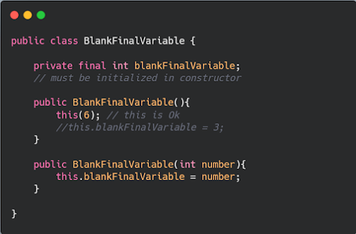 What is blank final variable in Java - Example