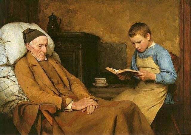 """""""La devozione del nonno"""" di Albert Anker"""