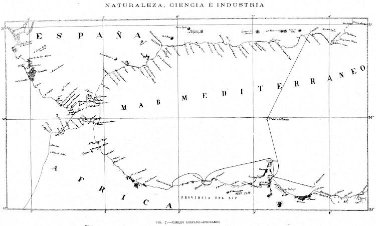 Plano de los cables telegraficos de union entre España y Africa. De la revista NATURALEZA, CIENCIA E INDUSTRIA. Año 1891..jpg