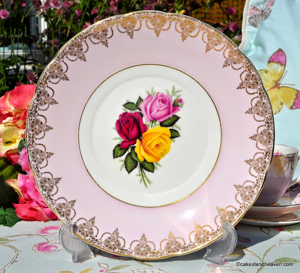Imperial pale pink with roses vintage cake plate