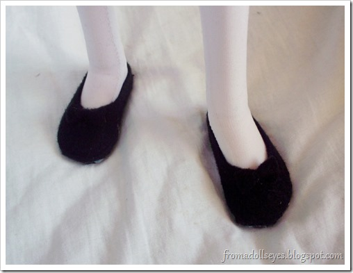 Black Felt Shoes Worn By a Ball Jointed Doll