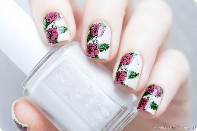 Frischlackiertchallenge the power of flower nailart design stamping moyou essie between the seats miss always right-3