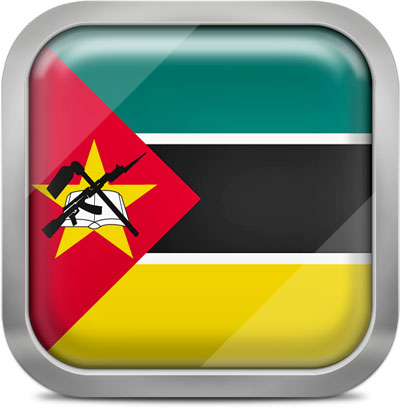Mozambique square flag with metallic frame