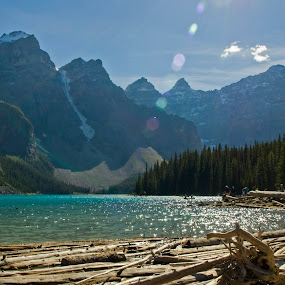 Moraine Lake by Jacob Hoedl - Landscapes Mountains & Hills ( water, reflection, wood, blue, glare, flare, alpine )