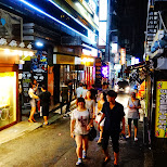 streets of hongdae by night in Seoul, Seoul Special City, South Korea