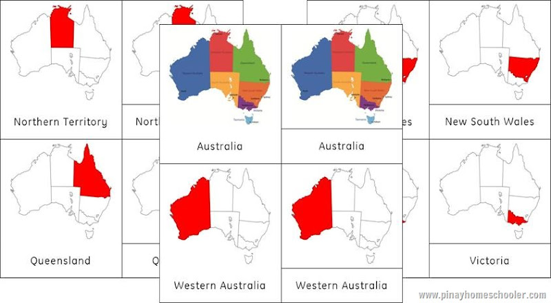 Australia/Oceania Continent 3 Part Cards of the Australian States