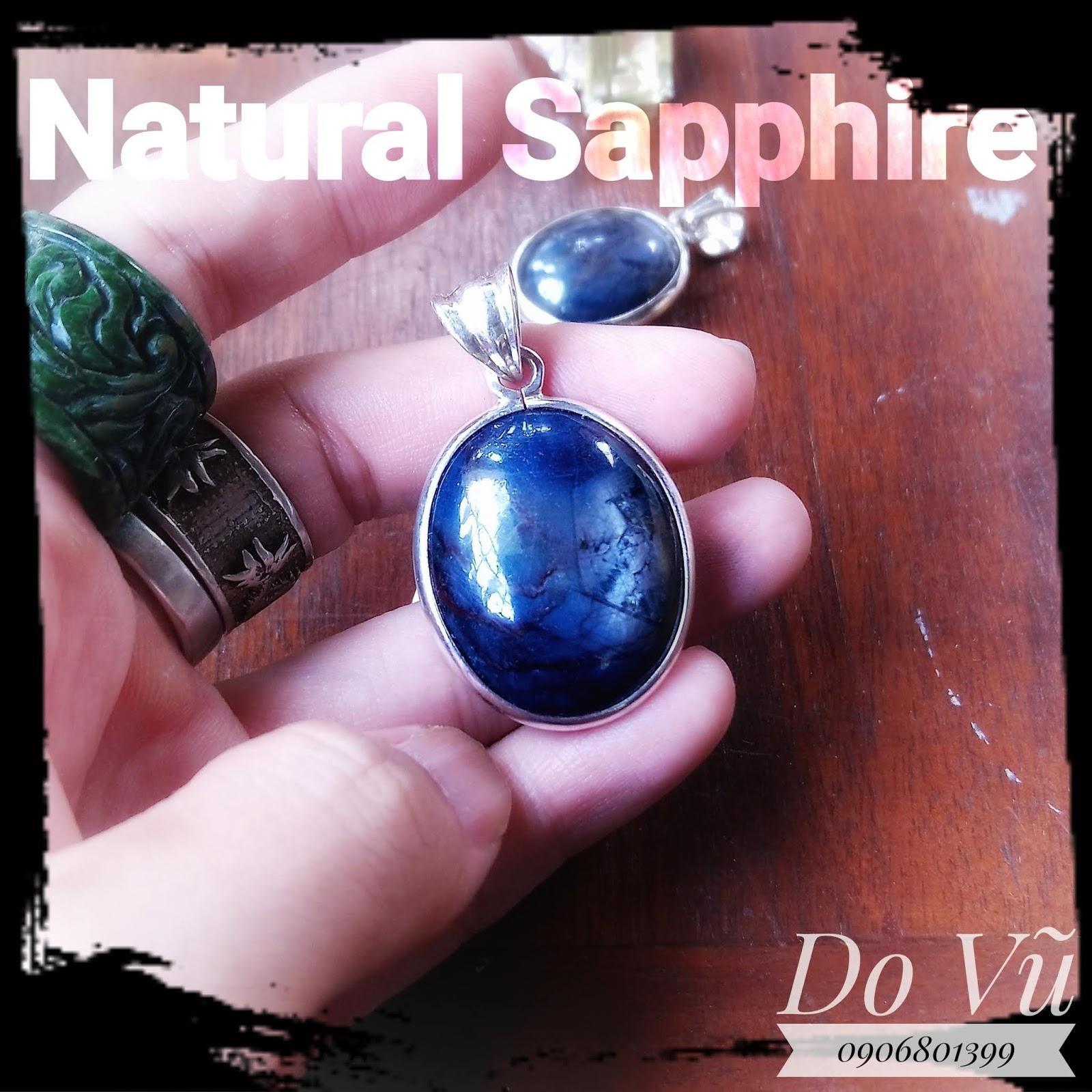 Mặt dây Sapphire thiên nhiên bọc bạc cao cấp