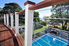 wooden deck cable railing idea