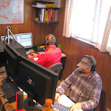 Jason KJ4EOO (background) on 40m SSB and Bill N4SV (foreground) on 20m SSB