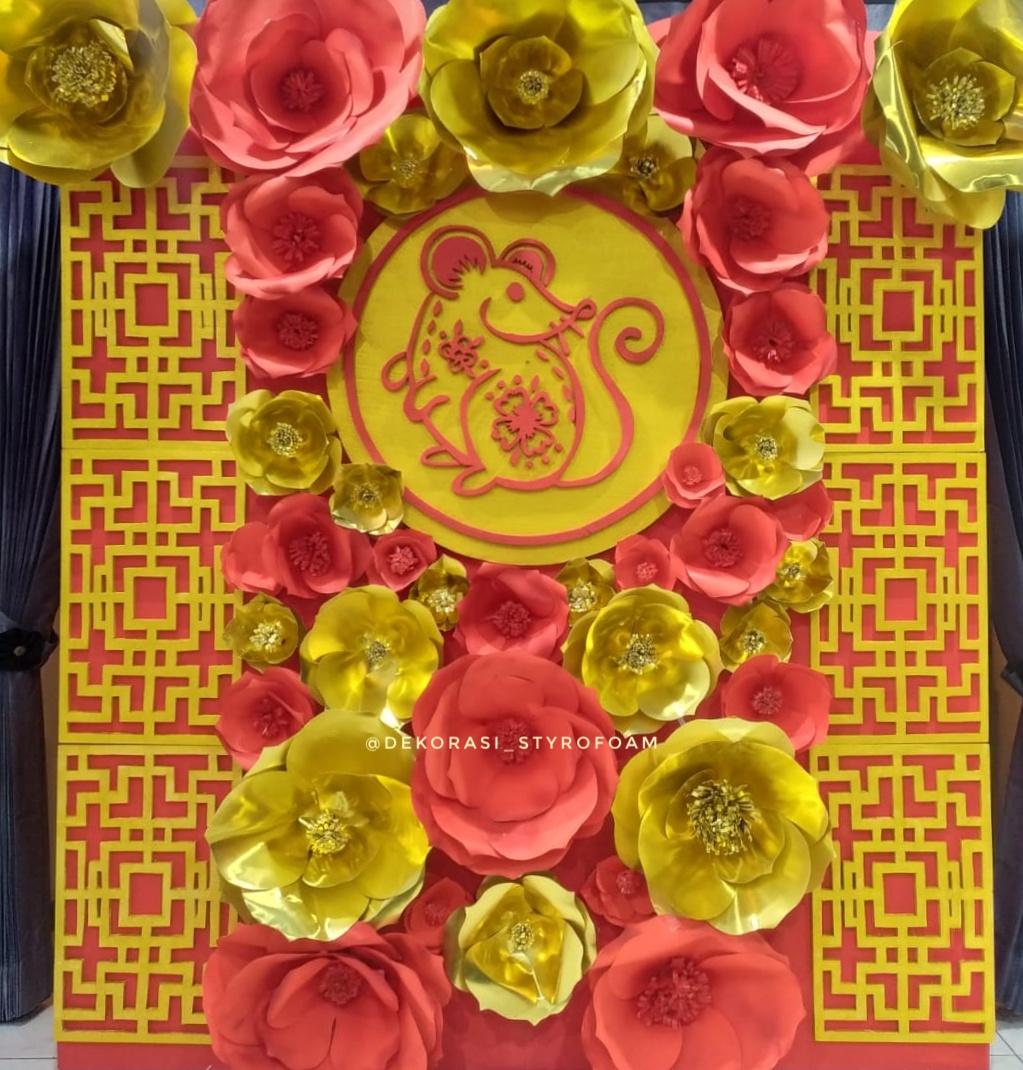 dekorasi backdrop untuk Imlek dari Styrofoam dengan harga murah dan terjangkau