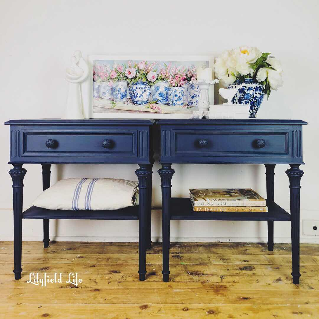 navy bedside tables Lilyfield Life