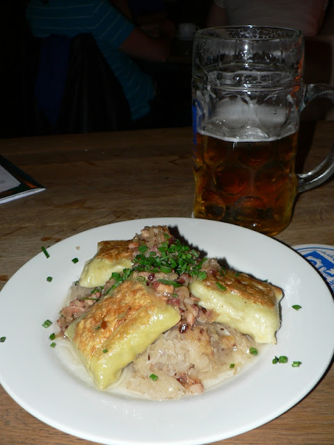 german dumplings and a liter of beer