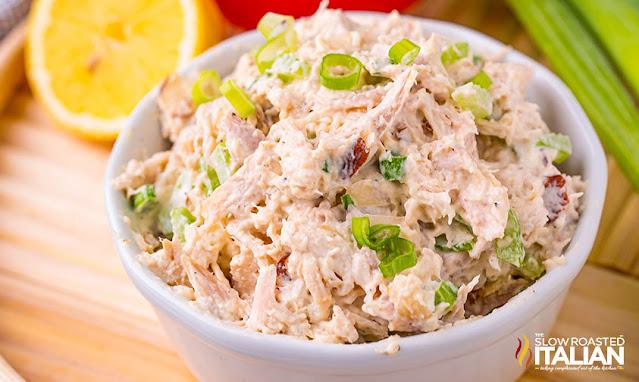 classic chicken salad recipe in a white bowl