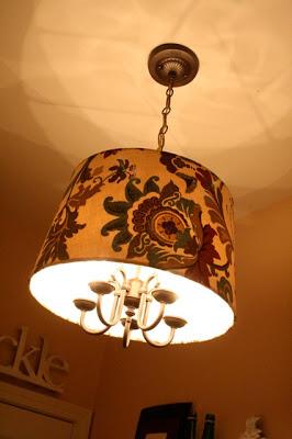 Drum shade chandelier transformation
