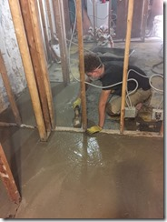 Alex doing Basement flooring
