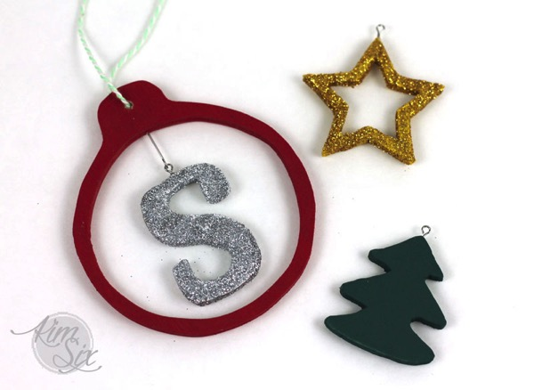 Glittered scroll saw wooden ornaments