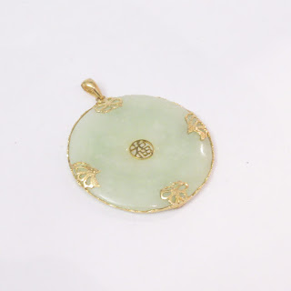 14K Gold and Jade Good Luck Butterfly Pendant