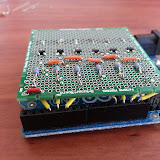 The core circuitry of the prototype is complete including the wiring into the Arduino headers.