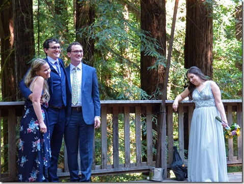 Michael with sister Stephanie and brother Ryan with Anna looking on -- Michael and Anna, Wedding Day, Camp Meeker California, July 21, 2018