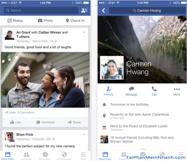 Tính năng nổi bật của ứng dụng Facebook cho iPhone