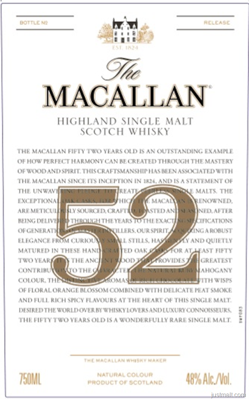 The Macallan 52-Year Highland Single Malt Scotch Whiskey
