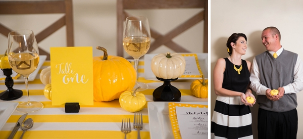 Glossy pumpkins table centerpiece