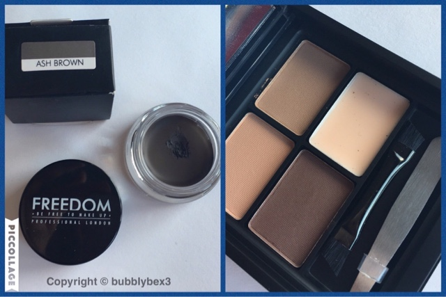 close up of the freedom makeup brow pomade and powder brow kit