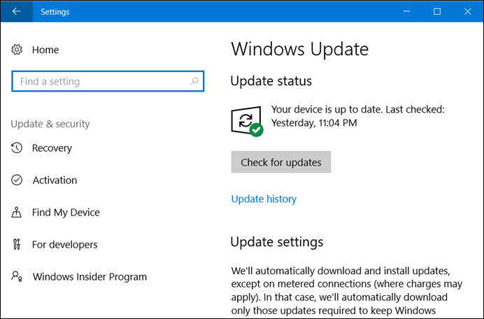 Windows 10 Update Settings page (www.kunal-chowdhury.com)