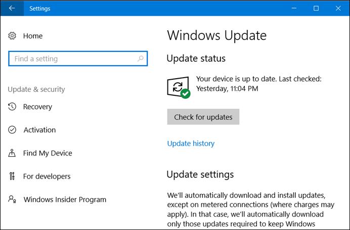 Windows 10 Update Settings page (www.kunal-chowdhury.com)