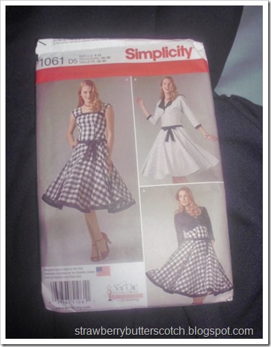 Simplicity 1061 women's dress pattern, for slight vintage looking a-line sleeveless dress with a matching bolero jacket.