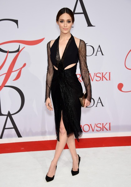 Emmy Rossum attends the 2015 CFDA Fashion Awards