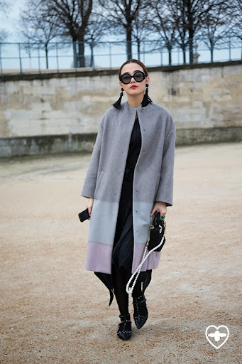 Guan Hejin; confectioner; Prada glasses; Dior coat; Issey Miyake dress; Valentino shoes; Dior bag;