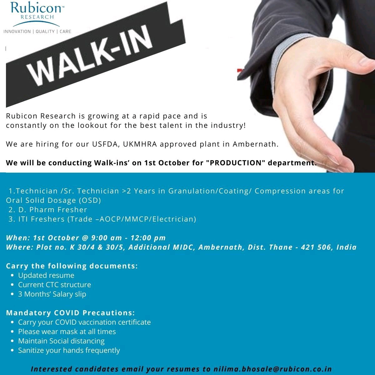 Walk-in on 1st Oct 2021 For D.Pharm Freshers In Production Technician Role