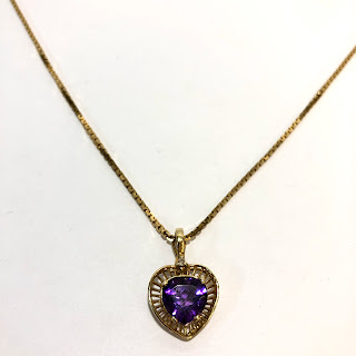 14K Gold, Amethyst, and Diamond Pendant Necklace