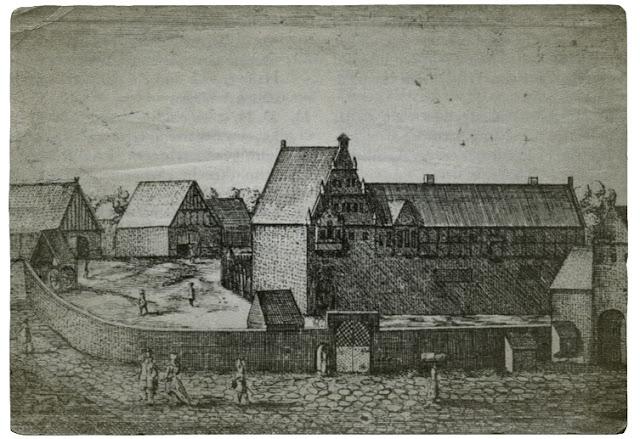 Der obere Hof in Barntrup, rechts vermutlich das Ostertor. Kupferstich von Elias van Lennep 1663