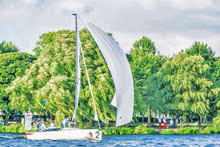 J/70 sailing on Alster Lake in Hamburg, Germany