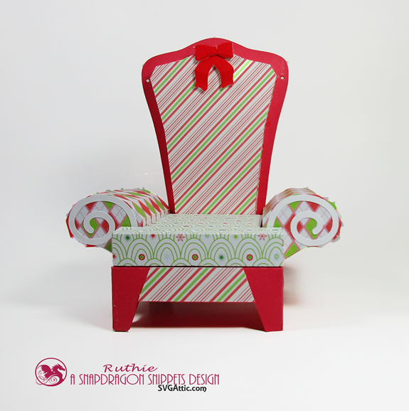 Santa 3D arm chair box - SnapDragon Snippets - Gift Card Box - Ruthie Lopez - My Hobby My Art