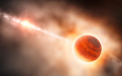 ilustração da formação de um planeta gigante gasoso em torno de uma estrela