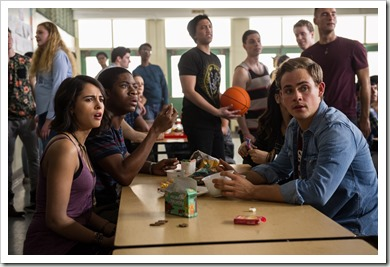 "From L to R: Naomi Scott as ""Kimberly"",  RJ Cyler as ""Billy"" and Dacre Montgomery as ""Jason"" in SABAN'S POWER RANGERS. Photo by Kimberley French."