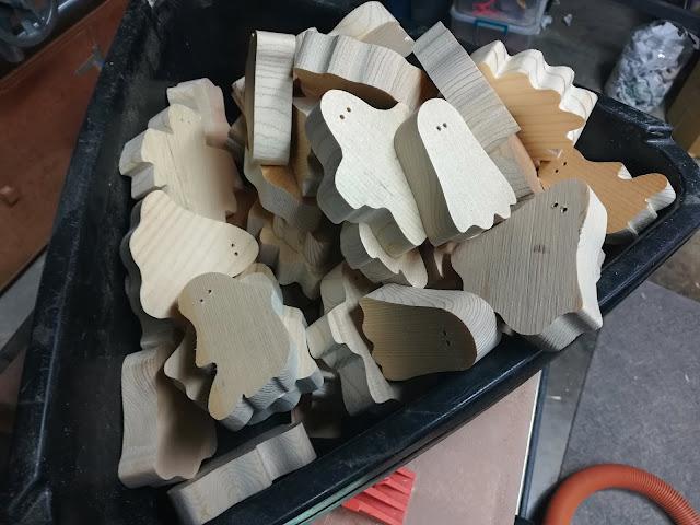 Handmade Wood Toy Ghosts aka Boo Crew Blanks Ready For The Belt Sander