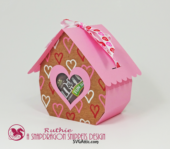 Cottage ribbon-tied 3d gift box - SnapDragon Snippets, San Valentin. Ruthie Lopez. 2