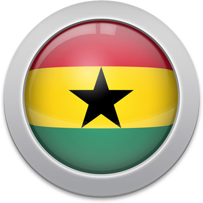 Ghanaian flag icon with a silver frame
