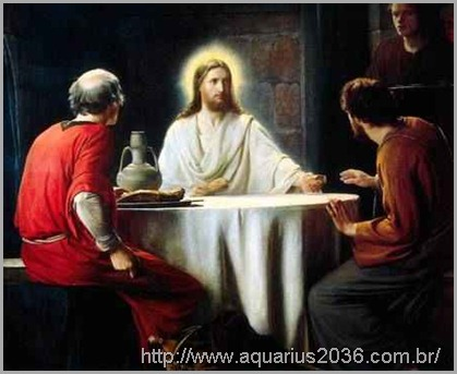 Jesus em corpo espiritual com os discípulos em Emaús
