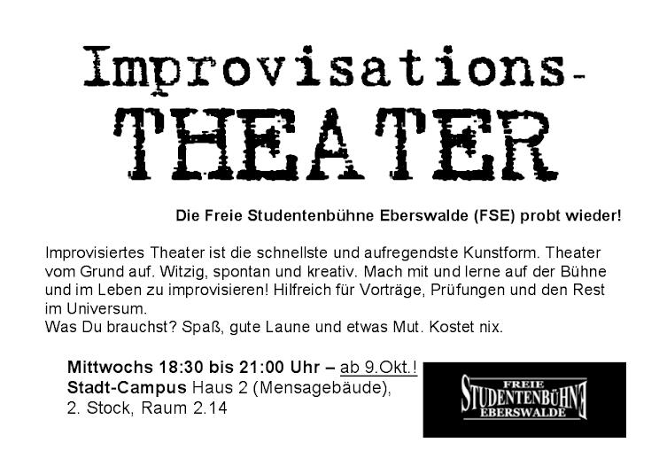 Flyer Proben 2013 Freie Studentenbühne Eberswalde