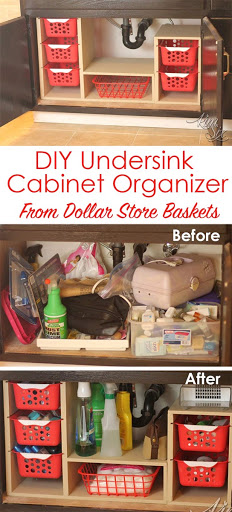 ... undercabinet organizer with pull out baskets. From a single sheet of plywood and some dollar store bins she built this fabulous organizer : pull out under cabinet storage - Cheerinfomania.Com