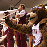 The Fiercest Bear in the West wags a furry finger during a men's basketball.  Photo by Austin Smith.